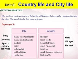 Unit8: Country life and City life