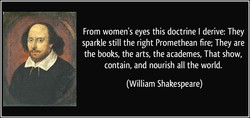 From women's eyes this doctrine I derive: They 