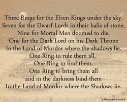 Three Rings for the Elven-Kings under the sky, 