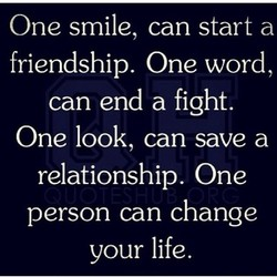 One smile, can start a 