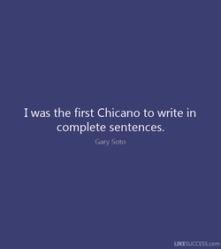I was the first Chicano to write in 