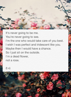 It's never going to be me. 