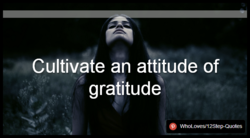 Cultivate an attitude of 