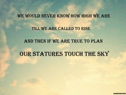 WE WOULD NEVER KNOW HOW HIGH WE ARE 