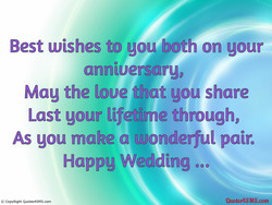 Best wishes to you both on gour 