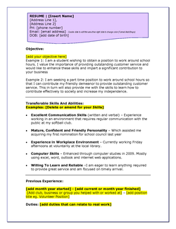 RESUME I [Insert Name] 
