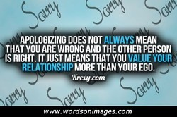 APOLOGIZING DOES NOT ALWAYS MEAN 