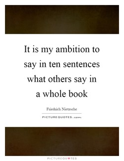 It is my ambition to 